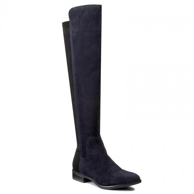 Over-Knee Boots CLARKS - Caddy Belle 261164244 Navy Suede