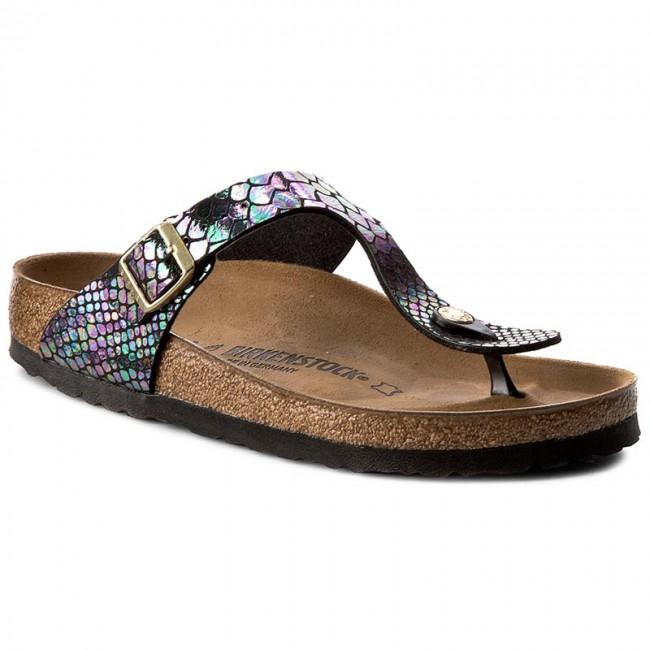 Slides BIRKENSTOCK Gizeh 1003464 Shiny Snake Black Multicolor