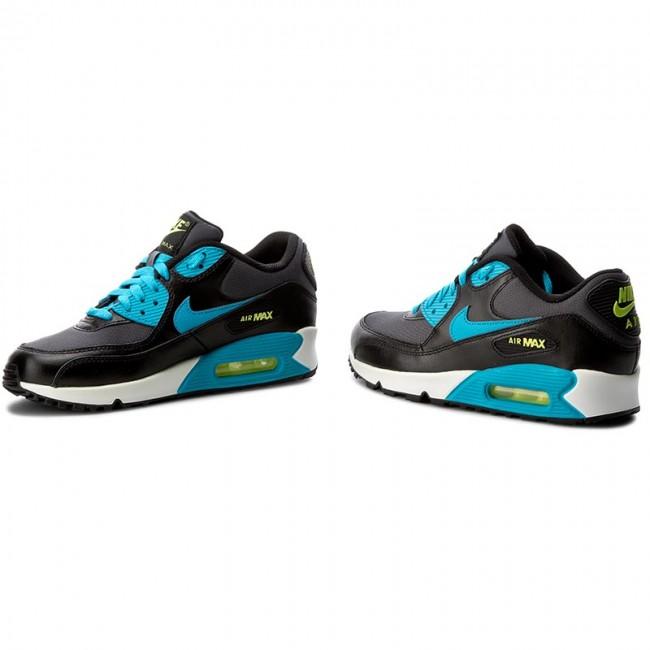 Shoes NIKE Air Max 90 Mesh (GS) 724824 004 BlackBlue LagoonDrk GreyWhite