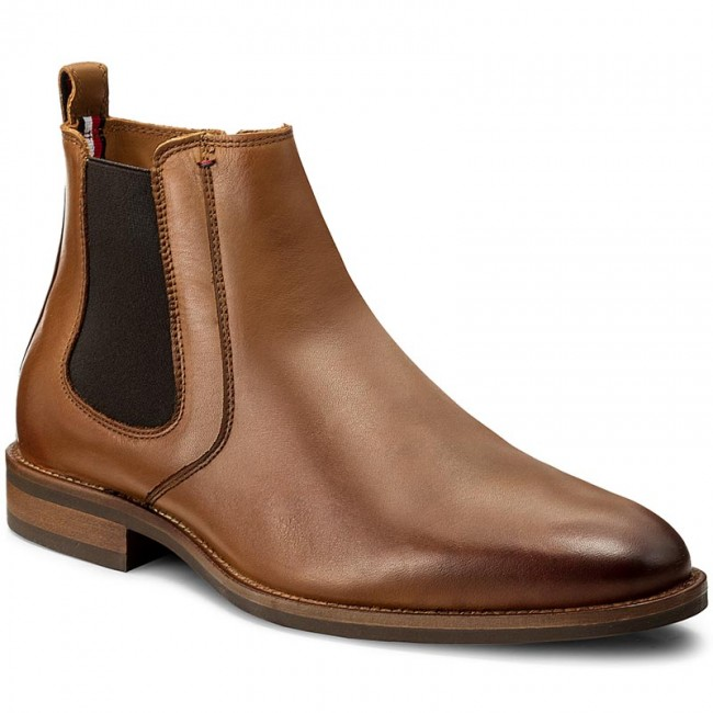 Tommy Hilfiger Th Buckle Leather Bo Cognac Damen Schuhe