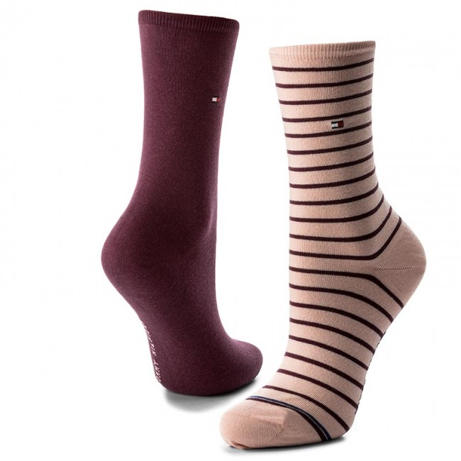 2 Pairs of Women's High Socks TOMMY HILFIGER - 443015001 Silver Pink 361