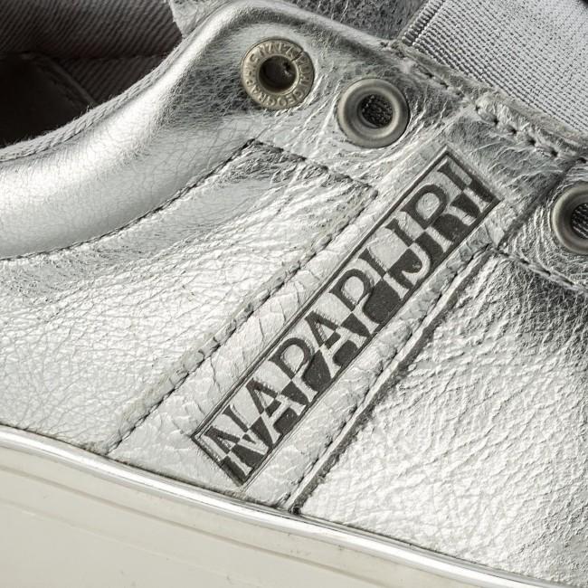 sneaker leder weiss silber napiri