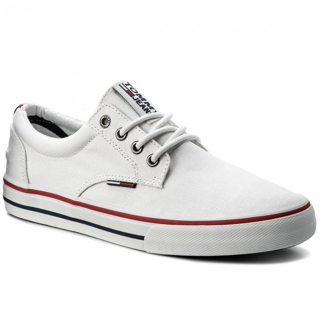 Plimsolls Em0em00001 100 Sneaker Tommy White Jeans Textile oExQrCeBdW