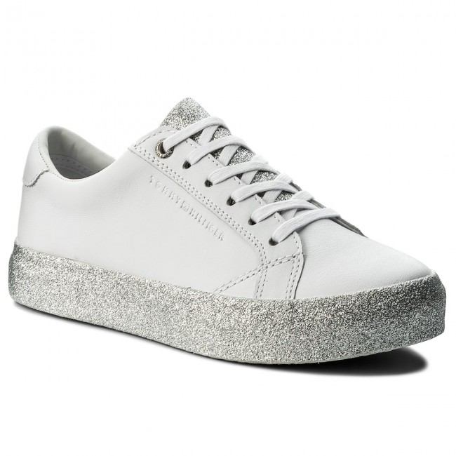 Sneakers TOMMY HILFIGER - Sparkle Outsole Glitter Sneaker FW0FW02798  White/Silver 907