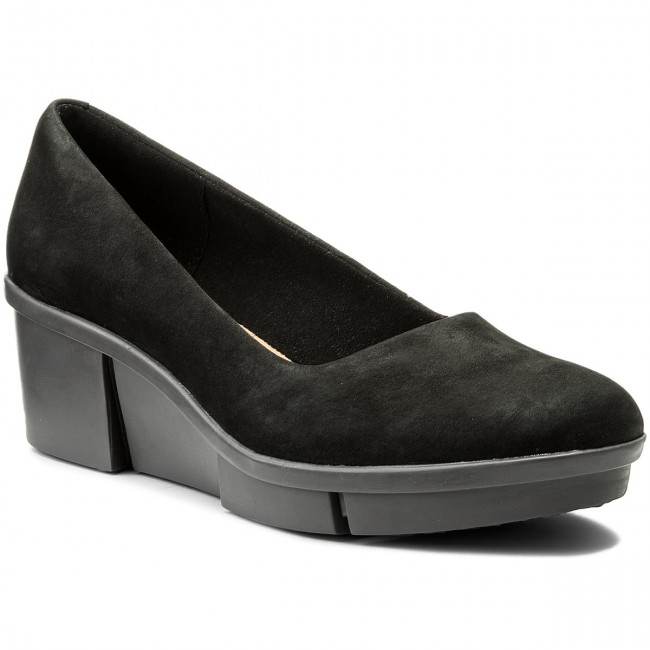3044f423 Shoes CLARKS - Pola Mae 261309864 Black Nubuck - Wedge-heeled shoes - Low  shoes - Women's shoes - efootwear.eu