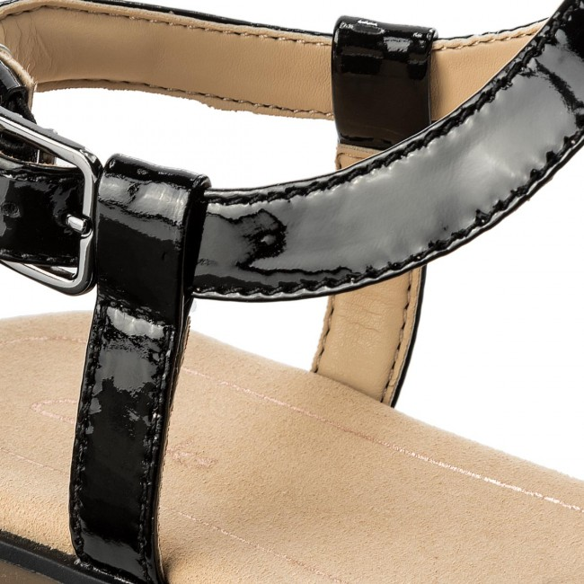 NEW CLARKS BAY BLOSSOM WOMENS BLACK PATENT SANDALS