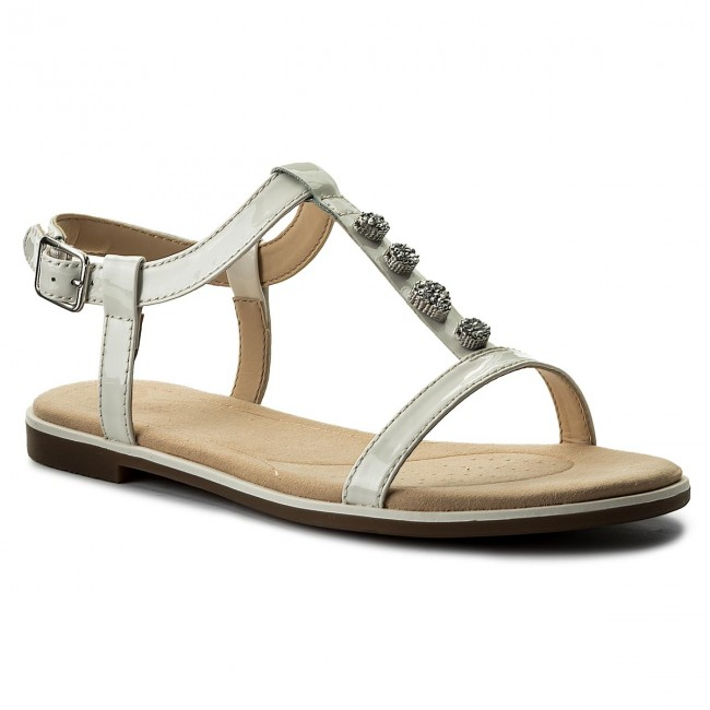 be1c19c03a72c Sandals CLARKS - Bay Blossom 261319514 White Patent - Casual sandals -  Sandals - Mules and sandals - Women's shoes - efootwear.eu