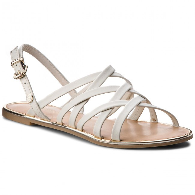 Sandals TOMMY HILFIGER - Leather Strappy Flat Sandal FW0FW02228 Whisper White 121