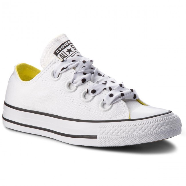 Converse Chuck Taylor All Star Big Eyelets OX White Black Yellow Women 560670C
