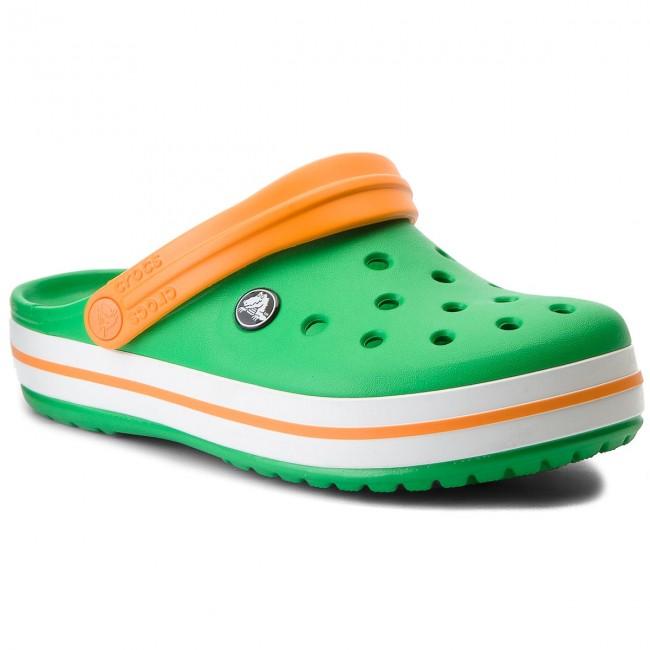 Slides CROCS - Crocband 11016 Grass Green/White/Blazing Orange