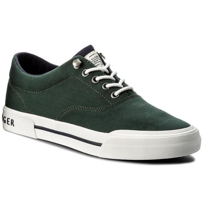 Plimsolls TOMMY HILFIGER - Heritage Textile Sneaker FM0FM01353 Jungle Green 300