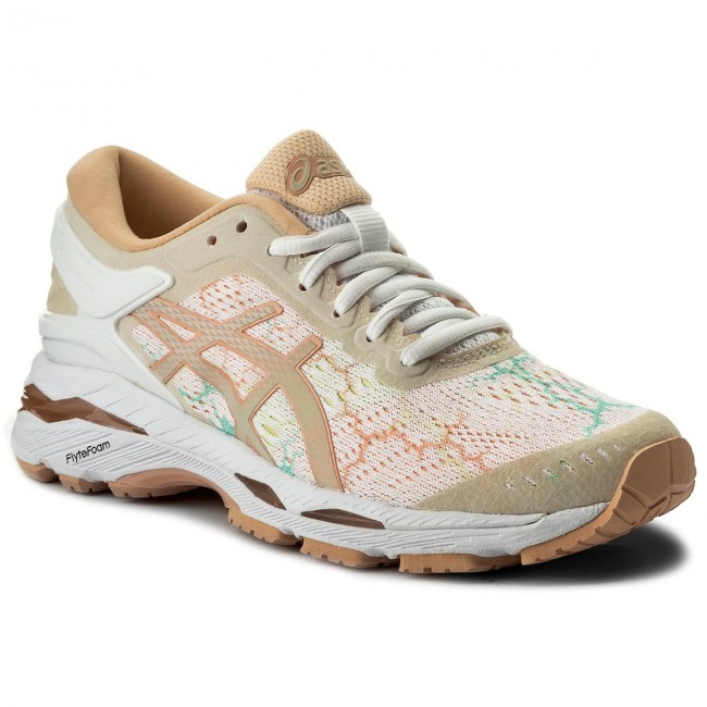 Asics T8A9N-0101 GEL-Kayano 24 Lite-Show White Apricot Ice Women/'s Running Shoes