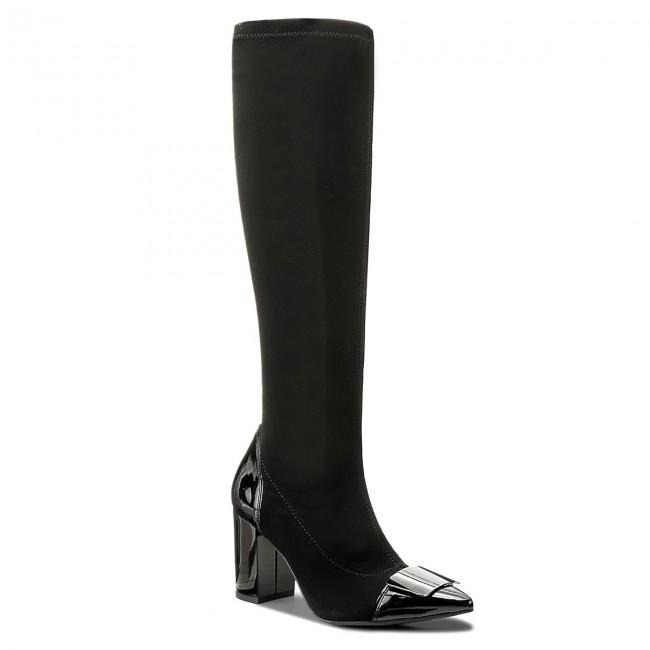Knee High Boots SAGAN - 3174  Czarna Lycra/Czarny Lakier