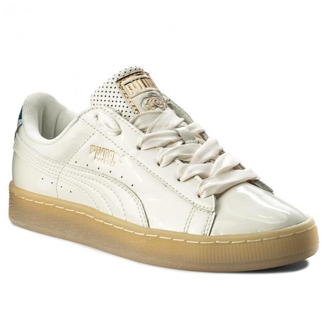 Puma Basket Classic Metallic Low Top Sneaker, Whisper White