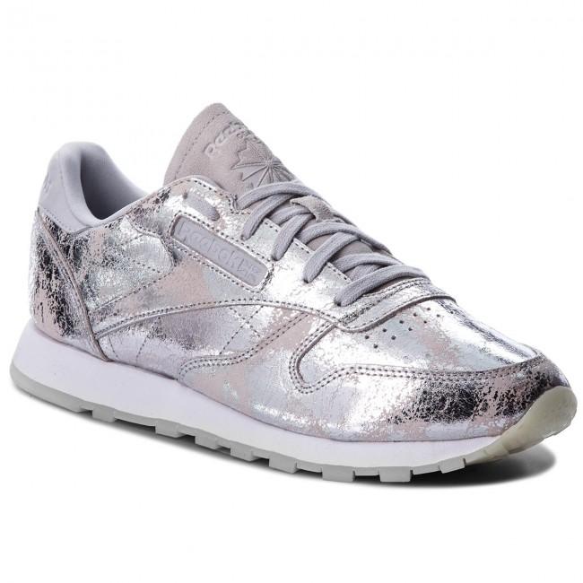 Shoes Reebok Cl Lthr Textural BS6785 Silver MetSkull GreyWht