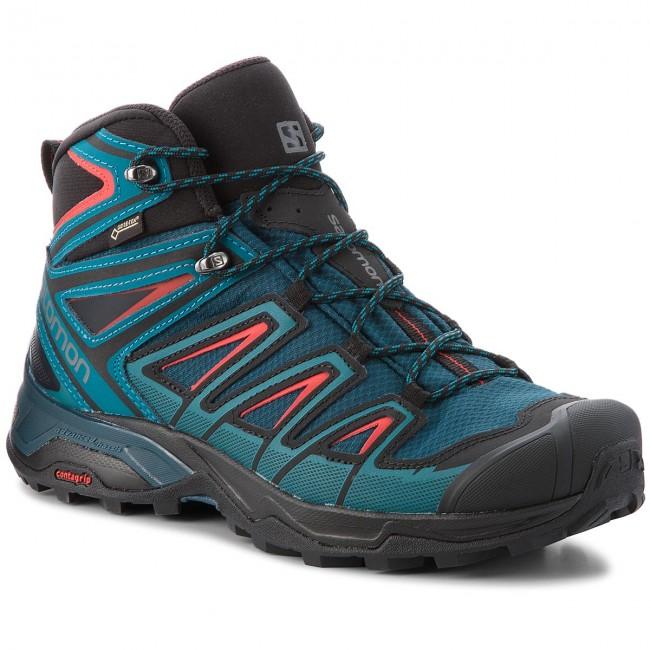 Trekker Boots SALOMON X Ultra 3 Mid Gtx GORE TEX 404672 29 W0 Reflecting PondDeep LagoonHigh Risk Red