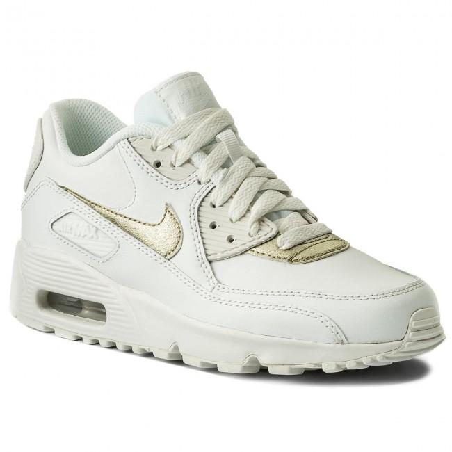 Shoes NIKE Air Max 90 Ltr (GS) 833376 103 Summit WhiteMtlc Gold Star