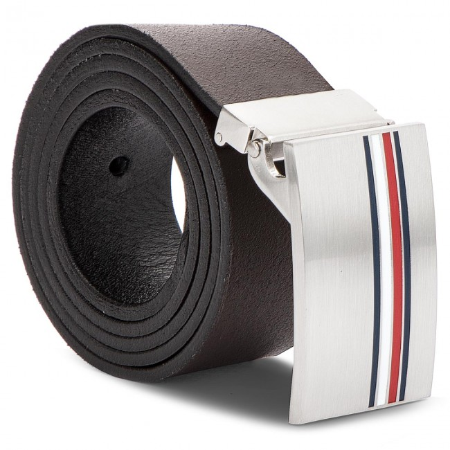 New MENS TOMMY HILFIGER BLACK PLAQUE CHECK LEATHER BELT BELTS
