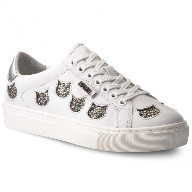 Sneakers KARL LAGERFELD - KL61039 White Lthr W/Silver
