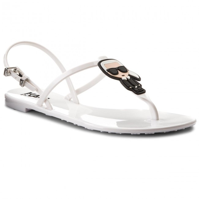 Sandals KARL LAGERFELD - KL80002 White Rubber