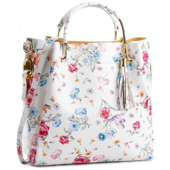 Handbag CREOLE - K10515 Kwiaty Biały