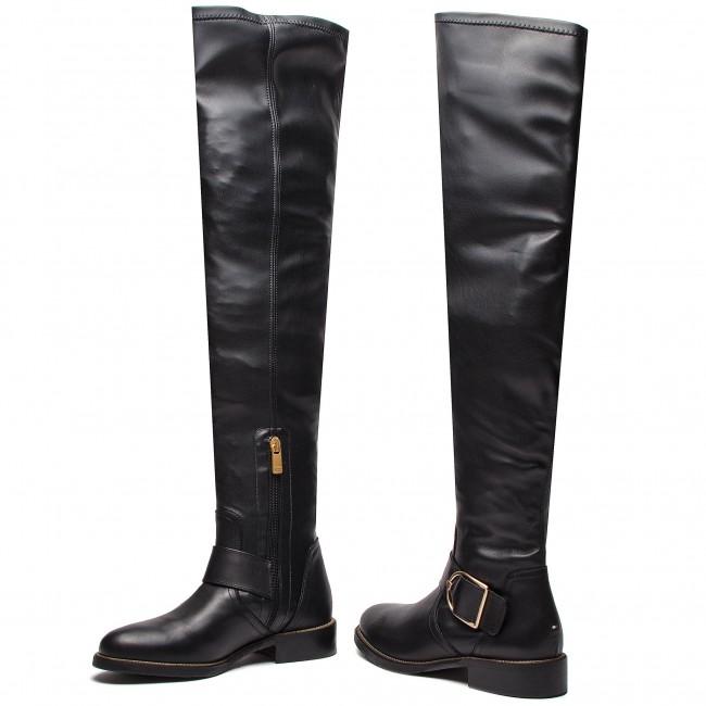 großer Verkauf immer beliebt online hier Over-Knee Boots TOMMY HILFIGER - Oversized Buckle Ove FW0FW03071 Black 990