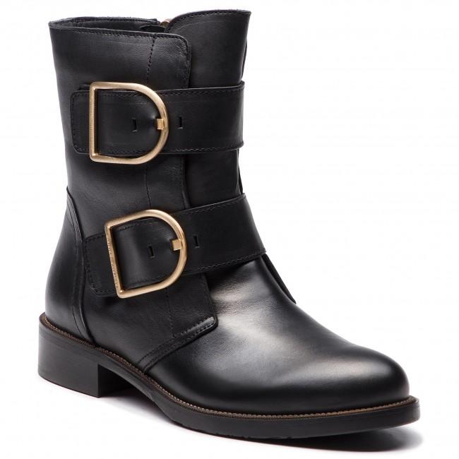 beliebt kaufen gut aussehen Schuhe verkaufen stylistisches Aussehen Boots TOMMY HILFIGER - Oversized Buckle Fla FW0FW03072 Black 990