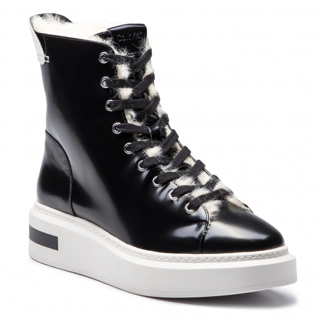 Boots Calvin Klein Travis E7507 Black Platinum White Boots High Boots And Others Women S Shoes Efootwear Eu