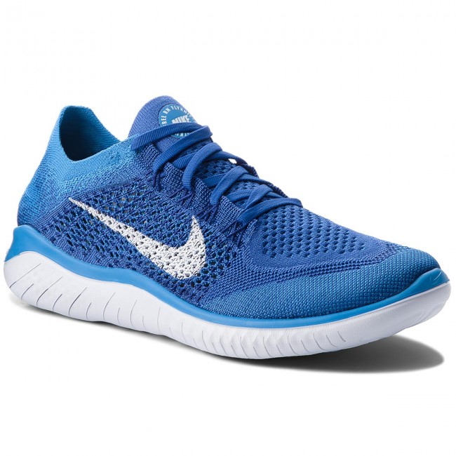 Most Popular Nike Free RN Flyknit 2018 Royal Blue White Men's Running Shoes NIKE012191