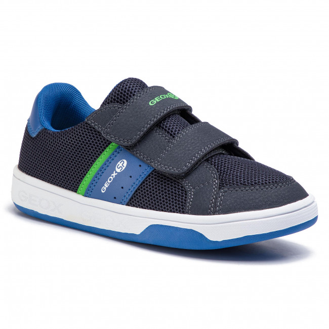 Geox Perth Boy Youth Hook and Loop Leather Low Trainers In Black UK Sizes 10-4