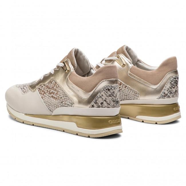 Sneakers GEOX D Shahira B D62N1B 041NF C1Q2L Off WhiteLt Gold