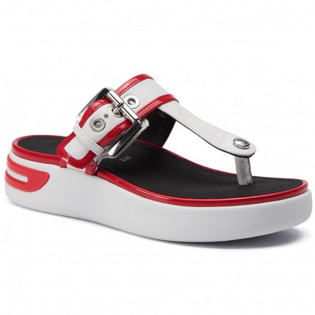 823935d98b9d9 Slides GEOX - D Ottaya Sand B D92CMB 08502 C1Z7Y White/Scarlet - Flip-flops  - Mules and sandals - Women's shoes - efootwear.eu