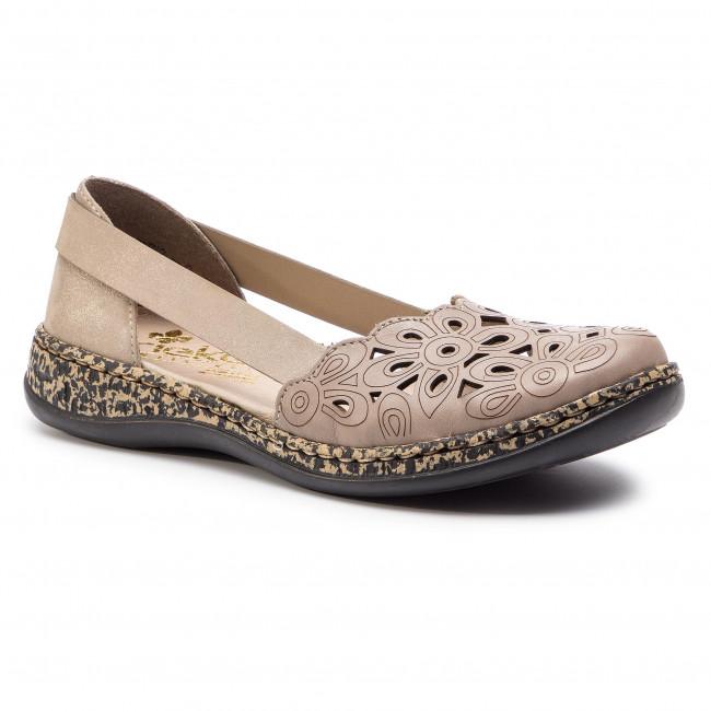 Shoes RIEKER 46395 64 Beige Flats Low shoes Women's qvf8a