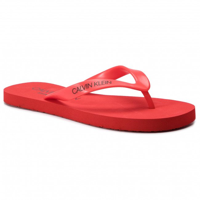 Slides CALVIN KLEIN SWIMWEAR - Ff Sandals KM0KM00341 Flame Scarlet 655