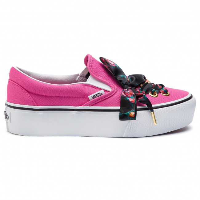 Damen vans Schwarz pink Classic Slip on Sneaker