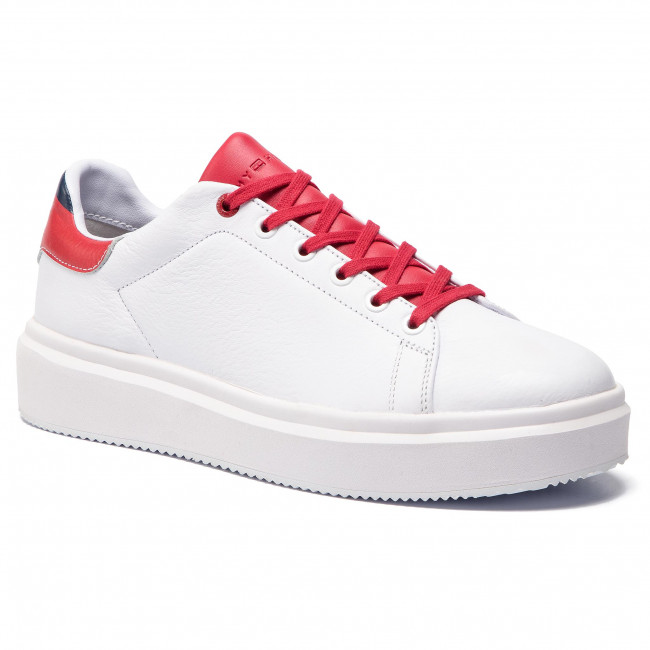 Sneakers TOMMY HILFIGER - Luxury Corporate Sneaker FM0FM02182  White/Tango Red 901