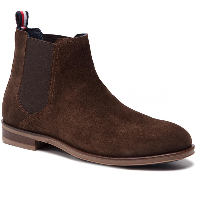 Ankle Boots TOMMY HILFIGER - Dress Casual Suede Chelsea FM0FM02212 Coffee Bean 212