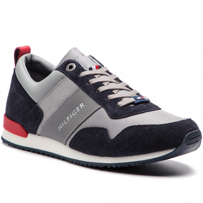 7aca2602 Sneakers TOMMY HILFIGER - Iconic Material Mix Runner FM0FM02042  Midnight/Light Grey/Tango Red