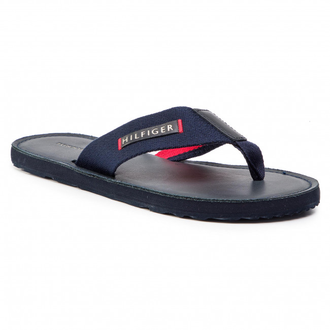 Slides TOMMY HILFIGER Elevated Leather Beach Sandal FM0FM02080 Midnight 403