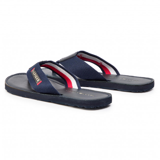 Blue Tommy Hilfiger Men/'s Elevated Leather Beah Flip Flops
