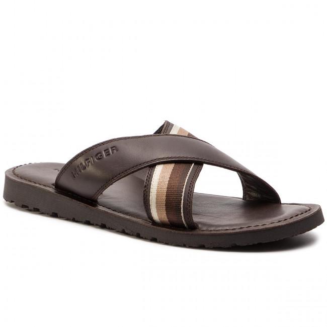 14a9478943dfc Slides TOMMY HILFIGER - Criss Cross Leather Sandal FM0FM02120 Coffee Bean  212