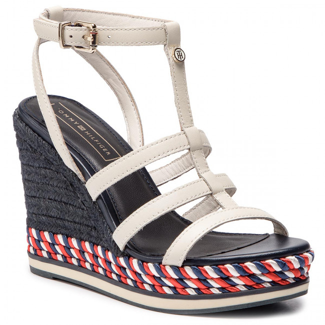 Espadrilles TOMMY HILFIGER - Colorful Rope Wedge Sandal FW0FW03821 Whisper White 121