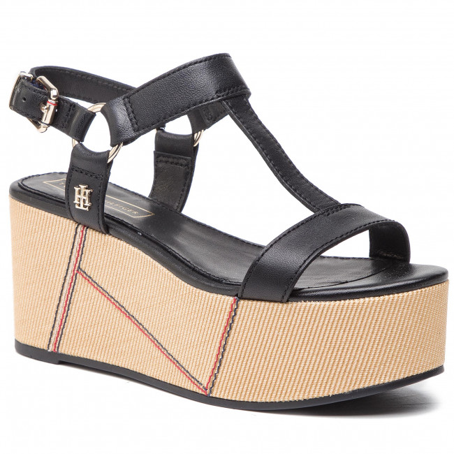 Sandals TOMMY HILFIGER - Elevated Leather Flatform Sandal FW0FW03944 Black 990