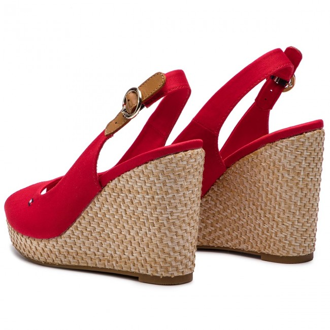 Espadrilles TOMMY HILFIGER Iconic Elba Basic Sling Back FW0FW04081 Tango Red 611