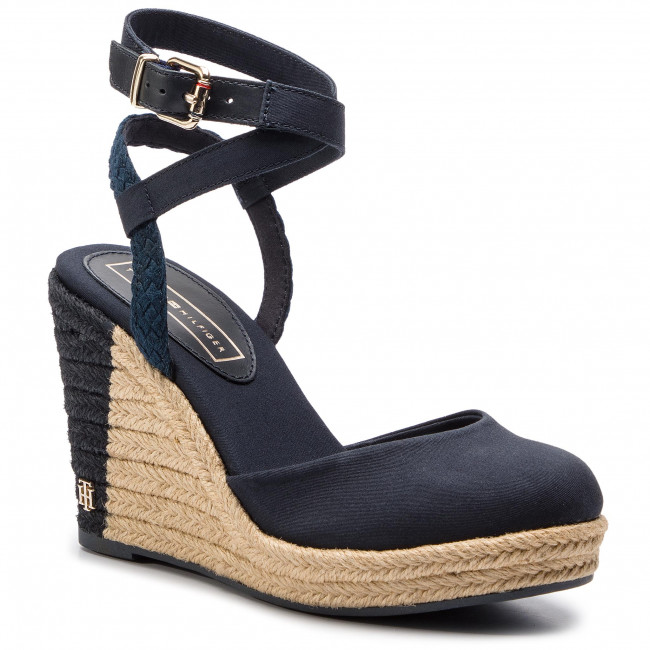 3b6a5d402cc Espadrilles TOMMY HILFIGER - Printed Closed Toe Wedge Sandal FW0FW03932  Midnight 403