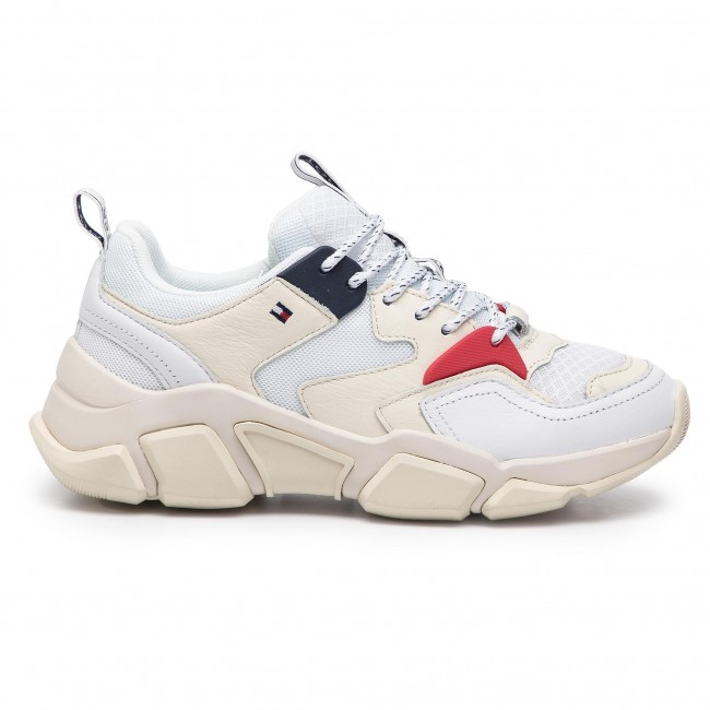New Womens Tommy Hilfiger Multi Chunky Mixed Leather Trainers Lace Up