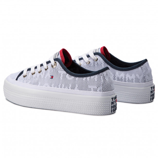 8512f65f7b4d Plimsolls TOMMY HILFIGER - Jacquard Flatform Sneaker FW0FW04071 White 100