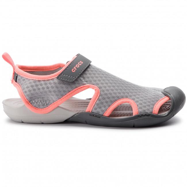 Sandals CROCS Swiftwater Mesh Sandal W 204597 Light GreyPearl White