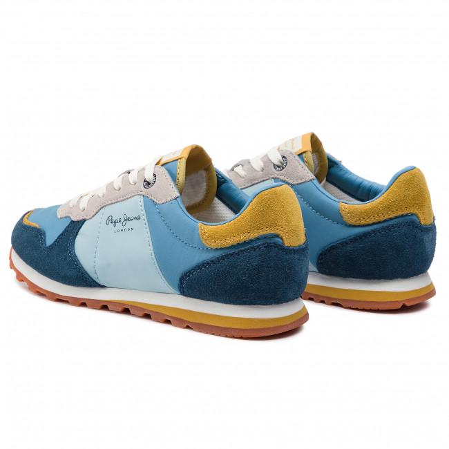 Pepe Jeans London Damen Verona W Glitter Sneakers, Blau