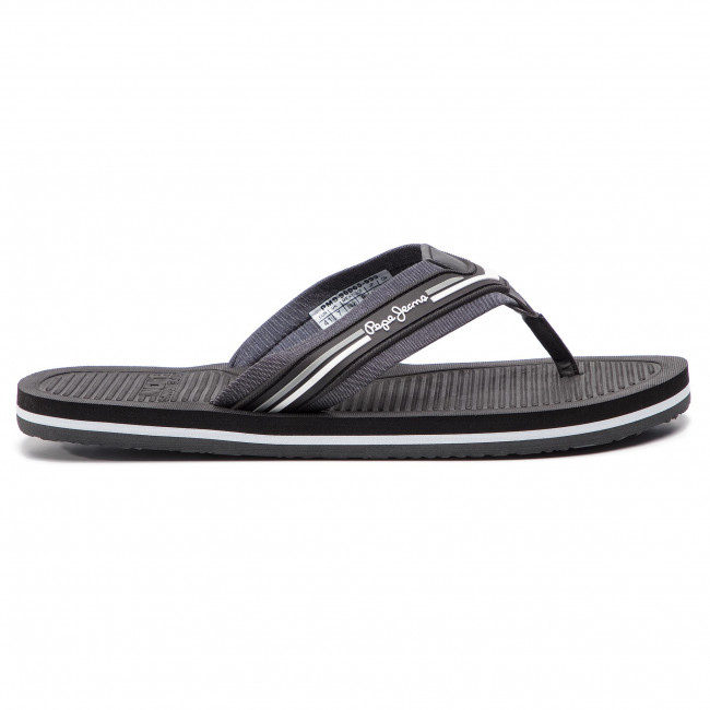 Slides PEPE JEANS - Off Beach Chambray PMS90065 Black 999 - Flip-flops - Mules and sandals - Men's shoes